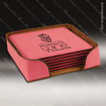 Laser Engraved Leather Coaster Set Square Stitched Edge Pink Etched Gift Leather Drink Coasters