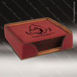 Laser Engraved Leather Coaster Set Square Stitched Edge Rose' Etched Gift Leather Drink Coasters