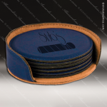 Laser Engraved Leather Coaster Set Round Stitched Edge Blue Etched Gift Leather Drink Coasters