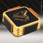 Laser Engraved Leather Coaster Set Square Metallic Edge Black Gold Etched Leather Drink Coasters