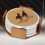 Laser Engraved Leather Coaster Set Round Metallic Edge Light Brown Etched G Leather Drink Coasters