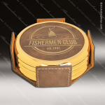 Laser Engraved Leather Coaster Set Round Metallic Edge Rustic Gold Etched G Leather Drink Coasters