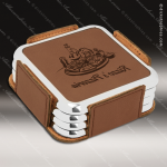 Laser Engraved Leather Coaster Set Square Metallic Edge Dark Brown Etched Leather Drink Coasters