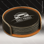 Laser Engraved Leather Coaster Set Round Stitched Edge Black Silver Etched Leather Drink Coasters