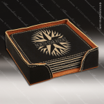 Laser Engraved Leather Coaster Set Square Stitched Edge Black Gold Etched Leather Drink Coasters