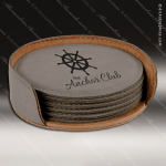 Laser Engraved Leather Coaster Set Round Stitched Edge Gray Etched Gift Leather Drink Coasters