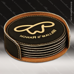 Laser Engraved Leather Coaster Set Round Stitched Edge Black Gold Etched Gi Leather Drink Coasters