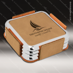 Laser Engraved Leather Coaster Set Square Metallic Edge Light Brown Etched Leather Drink Coasters