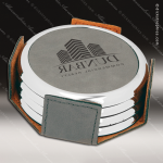 Laser Engraved Leather Coaster Set Round Metallic Edge Gray Etched Gift Leather Drink Coasters