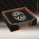 Laser Engraved Leather Coaster Set Square Stitched Edge Black Silver Etched Leather Drink Coasters