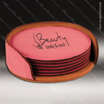 Laser Engraved Leather Coaster Set Round Stitched Edge Pink Etched Gift Leather Drink Coasters