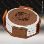 Laser Engraved Leather Coaster Set Round Metallic Edge Dark Brown Etched Gi Leather Drink Coasters