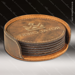 Laser Engraved Leather Coaster Set Round Stitched Edge Rustic Gold Etched Leather Drink Coasters