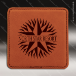Laser Engraved Leather Coaster  Square Stitched Edge Rawhide Etched Gift Leather Drink Coasters