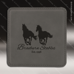 Laser Engraved Leather Coaster  Square Stitched Edge Gray Etched Gift Leather Drink Coasters