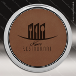 Laser Engraved Leather Coaster Round Metallic Edge Dark Brown Etched Gift Leather Drink Coasters