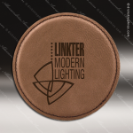 Laser Engraved Leather Coaster Round Stitched Edge Dark Brown Etched Gift Leather Drink Coasters