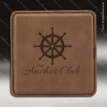 Laser Engraved Leather Coaster  Square Stitched Edge Dark Brown Etched Gift Leather Drink Coasters