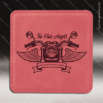 Laser Engraved Leather Coaster  Square Stitched Edge Pink Etched Gift Leather Drink Coasters