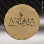 Laser Engraved Leather Coaster Round Stitched Edge Light Brown Etched Gift Leather Drink Coasters