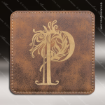 Laser Engraved Leather Coaster  Square Stitched Edge Rustic Gold Etched Gif Leather Drink Coasters