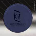 Laser Engraved Leather Coaster Round Stitched Edge Blue Etched Gift Leather Drink Coasters