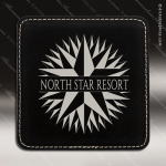 Laser Engraved Leather Coaster  Square Stitched Edge Black Silver Etched Gi Leather Drink Coasters