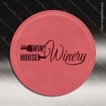 Laser Engraved Leather Coaster Round Stitched Edge Pink Etched Gift Leather Drink Coasters