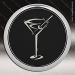 Laser Engraved Leather Coaster Round Metallic Edge Black Silver Etched Gift Leather Drink Coasters