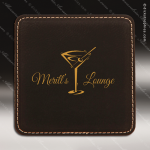 Laser Engraved Leather Coaster  Square Stitched Edge Black Gold Etched Gift Leather Drink Coasters