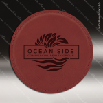 Laser Engraved Leather Coaster Round Stitched Edge Rose' Etched Gift Leather Drink Coasters