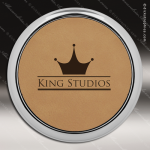Laser Engraved Leather Coaster Round Metallic Edge Light Brown Etched Gift Leather Drink Coasters
