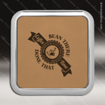 Laser Engraved Leather Coaster  Square Metallic Edge Light Brown Etched Gif Leather Drink Coasters