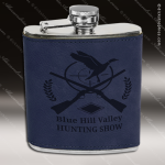 Engraved Leather Flask 6 Oz. Blue Etched Gift Award Leather Flask Gifts