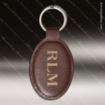 Laser Etched Engraved Keychain Leather Oval Dark Brown Gift Award Leather Keychain Gifts