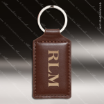 Laser Etched Engraved Keychain Leather Rectangle Dark Brown Gift Award Leather Keychain Gifts
