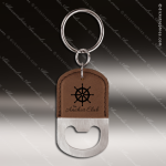 Laser Etched Engraved Keychain Leather Bottle Opener Oval Dark Brown Gift Leather Keychain Gifts