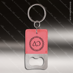 Laser Etched Engraved Keychain Leather Bottle Opener Rectangle Pink Gift Leather Keychain Gifts