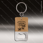 Laser Etched Engraved Keychain Leather Bottle Opener Rectangle Light Brown Leather Keychain Gifts