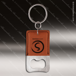 Laser Etched Engraved Keychain Leather Bottle Opener Rectangle Rawhide Leather Keychain Gifts