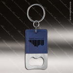 Laser Etched Engraved Keychain Leather Bottle Opener Rectangle Blue Gift Leather Keychain Gifts