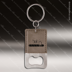 Laser Etched Engraved Keychain Leather Bottle Opener Rectangle Gray Gift Leather Keychain Gifts