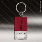 Laser Etched Engraved Keychain Leather Bottle Opener Rectangle Rose' Gift Leather Keychain Gifts