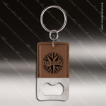 Laser Etched Engraved Keychain Leather Bottle Opener Rectangle Dark Brown Leather Keychain Gifts