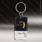 Laser Etched Engraved Keychain Leather Bottle Opener Rectangle Black Gift Leather Keychain Gifts