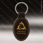 Laser Etched Engraved Keychain Leather Oval Black Gift Award Leather Keychain Gifts