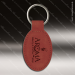 Laser Etched Engraved Keychain Leather Oval Rose' Gift Award Leather Keychain Gifts
