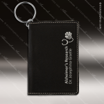 Laser Etched Engraved Keychain Leather ID Holder Black Gift Award Leather Keychain ID Holders
