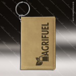 Laser Etched Engraved Keychain Leather ID Holder Light Brown Gift Award Leather Keychain ID Holders