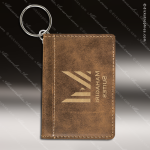 Laser Etched Engraved Keychain Leather ID Holder Rustic Gift Award Leather Keychain ID Holders